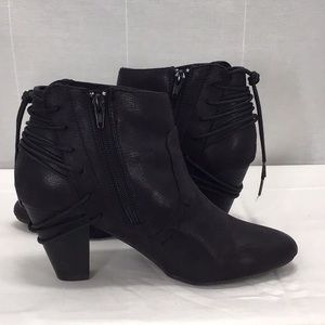Report Milla Ankle Bootie Lace Up Back Faux Suede